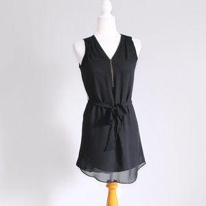 IZ Byer Chiffon Zip Front Flowy Dress Black Sz XS